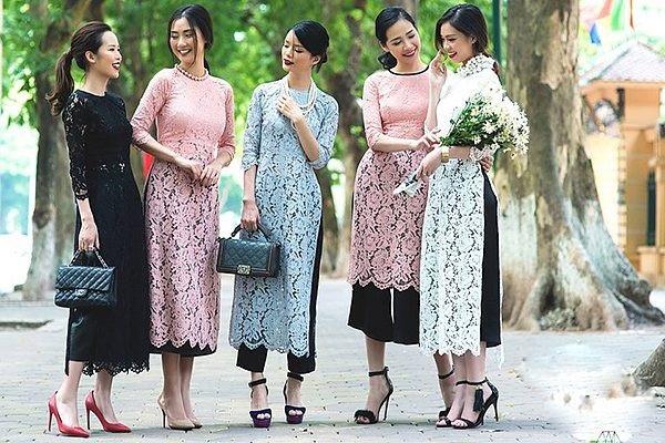 Các mẫu áo dài cách tân cổ tròn đẹp
